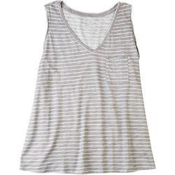 Dept 222 Womens Striped V-Neck Sleeveless Top