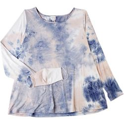 Ava James Womens Tie Dye Long Sleeve Top Mask Included