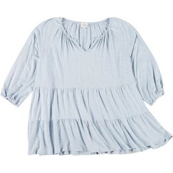 Ava James Plus Solid Double Tiered Tunic Top