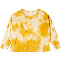 Ava James Plus Tie Dye Pocket Long Sleeve Top
