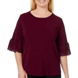 Nouvida Plus Solid Lazer Cut Bell Sleeve Top