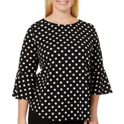Nouvida Plus Polka Dot Bell Sleeve Top
