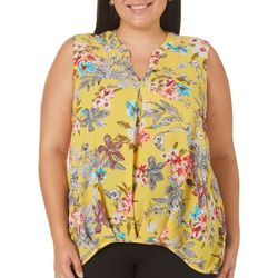 Nouvida Plus Floral Print Split Neck Sleeveless Top