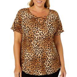 Nouvida Plus Leopard Print V-Neck Short Sleeve Top