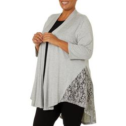 JSP Woman Plus Solid Heather Lace Detail Cardigan