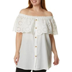 Studio West Plus Solid Eyelet Embellished Button Down Top