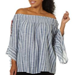 Studio West Plus Striped Embroidered Top
