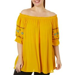 Studio West Plus Solid Embroidered Sleeve Top
