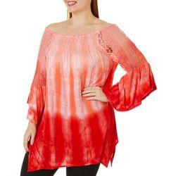 Studio West Plus Tie Dye Crochet Detail Smocked Top