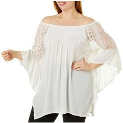 Studio West Plus Lace Off the Shoulder Peasant Top