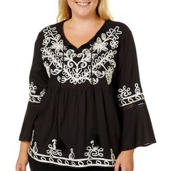 Studio West Plus Embroidered Bell Sleeve Top