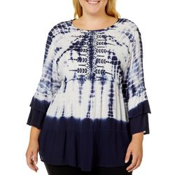 Studio West Plus Embroidered Floral Tie Dye Top