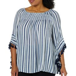 Studio West Plus Geometric Off The Shoulder Tassel Top
