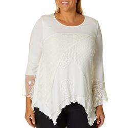 Studio West Plus Floral Lace Asymmetrical Hem Top