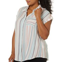 Alkamy Plus Geometric Striped Button Down Short Sleeve