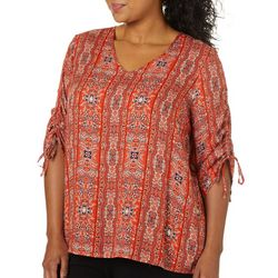 Alkamy Plus Floral Paisley Print Ruched V-Neck Top