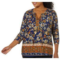 Alkamy Plus Floral Print Lace Up Neck Top