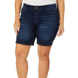 Love Indigo Plus Comfort Waist Solid Denim Shorts
