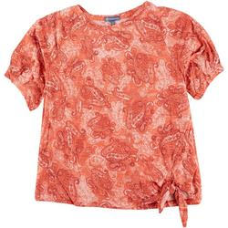Plus Paisley Puff Sleeve Top