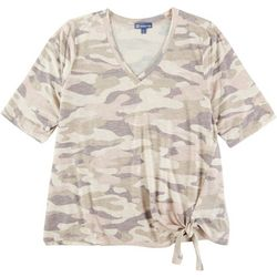 Democracy Plus Camo V-Neck Short Sleeve Top