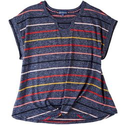 Democracy Plus Multicolor Stripes Short Sleeve Top