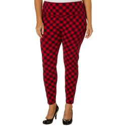 Khakis & Co Plus Suave Gingham Print Tummy Control Leggings