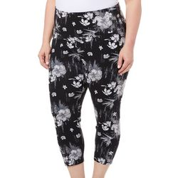 Khakis & Co Plus Suave Hibiscus Print Capri Leggings