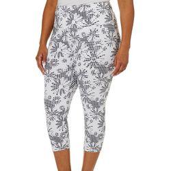 Khakis & Co Plus Suave Gingham Floral Capri Leggings