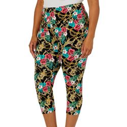 Khakis & Co Plus Suave Floral Chain Link Capris Leggings