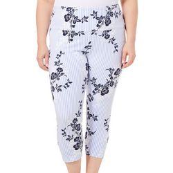 Khakis & Co Plus Suave Floral Pin Stripe Capri Leggings