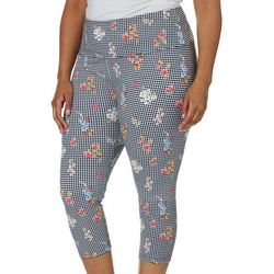 Khakis & Co Plus Suave Floral Gingham Capris