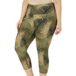 Khakis & Co Plus Tropical Palm Print Capri Leggings