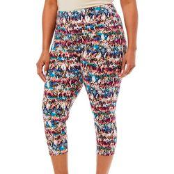 Khakis & Co Plus Colorful Snakeskin Print Capri Leggings