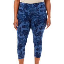 Khakis & Co Plus Suave Hibiscus Print Leggings
