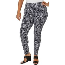 Khakis & Co Plus Suave Zebra Stripe Print Leggings