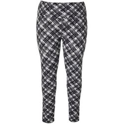 Khakis & Co Plus Faded Plaid Print Leggings