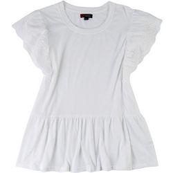 Indigo Poppy Plus Babydoll Shirt Floral Sleeve Top