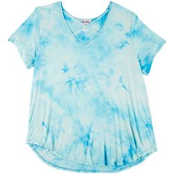 Urban Rose Plus Tie Dye Lace Up Short Sleeve Top