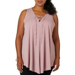Urban Rose Plus Solid Lace Up Sleeveless Top