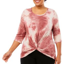 Urban Rose Plus Tie Dye Scoop Neck Twist Front Top