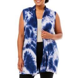 Plus Tie Dye Open Front Sleeveless Vest