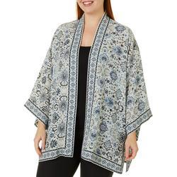 Plus Floral Print Wrap Kimono Top