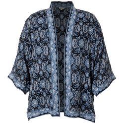 Max Studio Plus Geo Floral Print Wrap Kimono Top