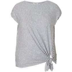 Max Studio Plus Striped Tie Front Boat Neckline Top