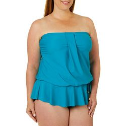 Maxine Plus Solid Peplum Bandeau One Piece Swimsuit