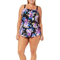 Maxine Plus Tropical Floral Peplum One Piece Swimsuit