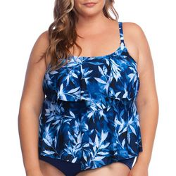 Maxine Plus In The Navy Leaf Print Tiered Tankini Top