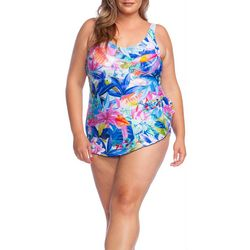 Maxine Plus Potpourri Sarong One Piece Swimsuit