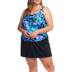 Maxine Plus Secret Garden Faux Tankini Swimdress