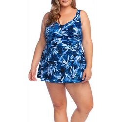 Maxine Plus In The Navy Leaf Print Swimdress